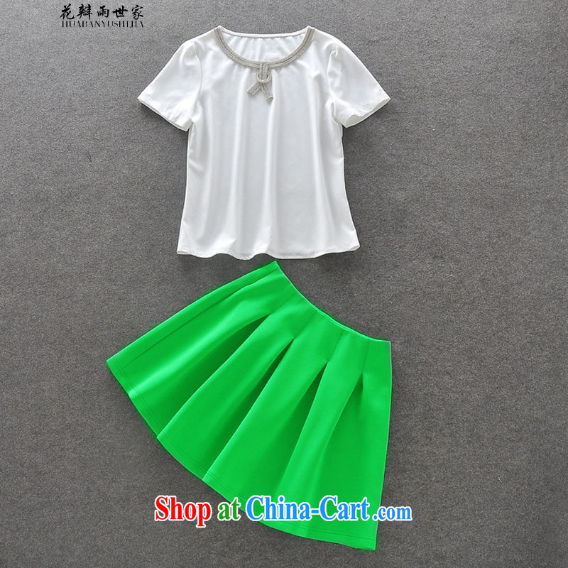 Petals rain family seek casual stylish wood drill short-sleeved T-shirt silver light green high-waist waist skirt kit for 327 B 950,738 white L