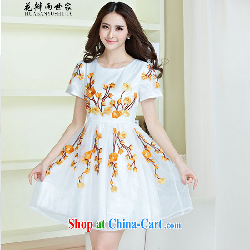Petals rain saga should summer new women dress blue and white porcelain embroidery European root yarn lace Korean short-sleeved generation 263605090 yellow S