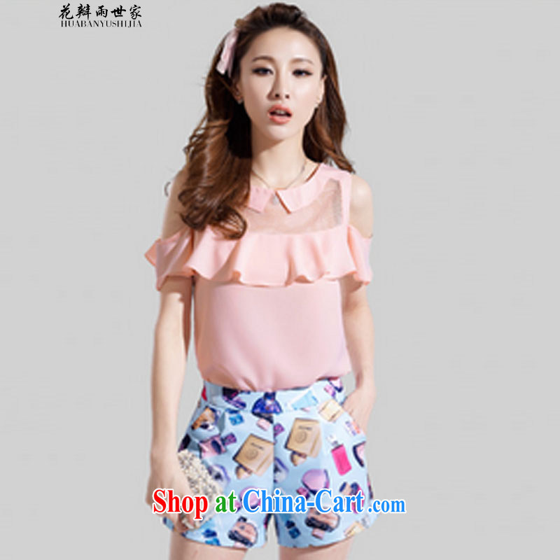 Petals rain family seek two-piece larger blouses covered shoulders snow woven short-sleeved stamp stylish package for 327 B 980,339 pink M