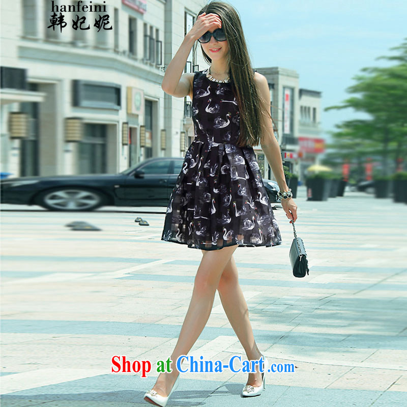 Korean Princess Anne summer new digital stamp Swan 3D pattern sleeveless-waist dresses and 325 A 900,730 black M