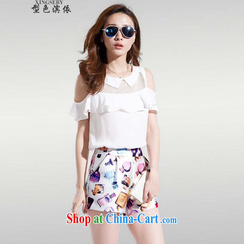 Type color bin in accordance with the two-piece larger blouses covered shoulders snow woven short-sleeved stamp stylish package for 327 B 980,339 white XL