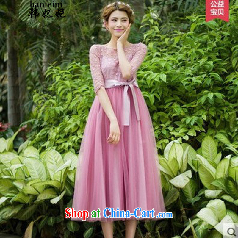 Korean Princess Anne summer new lady in snow cuff woven Web yarn embroidery, long skirt large dresses generation 263651280 pink L