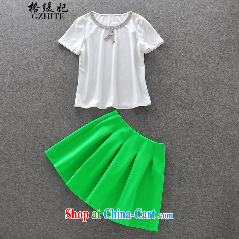 The Princess Diana's economy should be relaxed and stylish wood drill short-sleeved T-shirt silver light green high-waist waist skirt kit for 327 B 950,738 white L