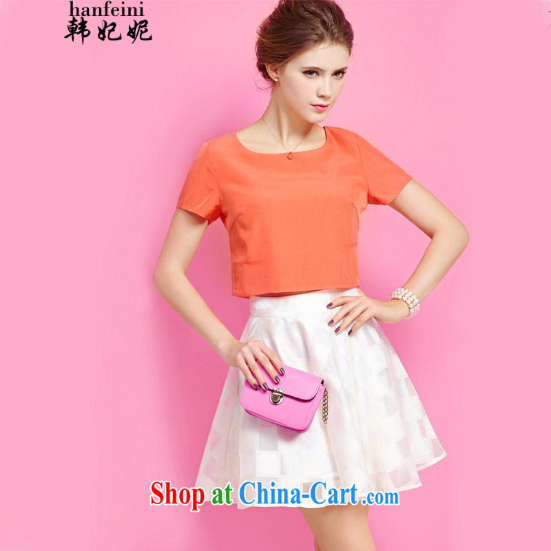 Korean Princess Anne summer leisure package and stylish graphics thin T-shirt body skirt two piece set with skirt generation 263655370 orange M