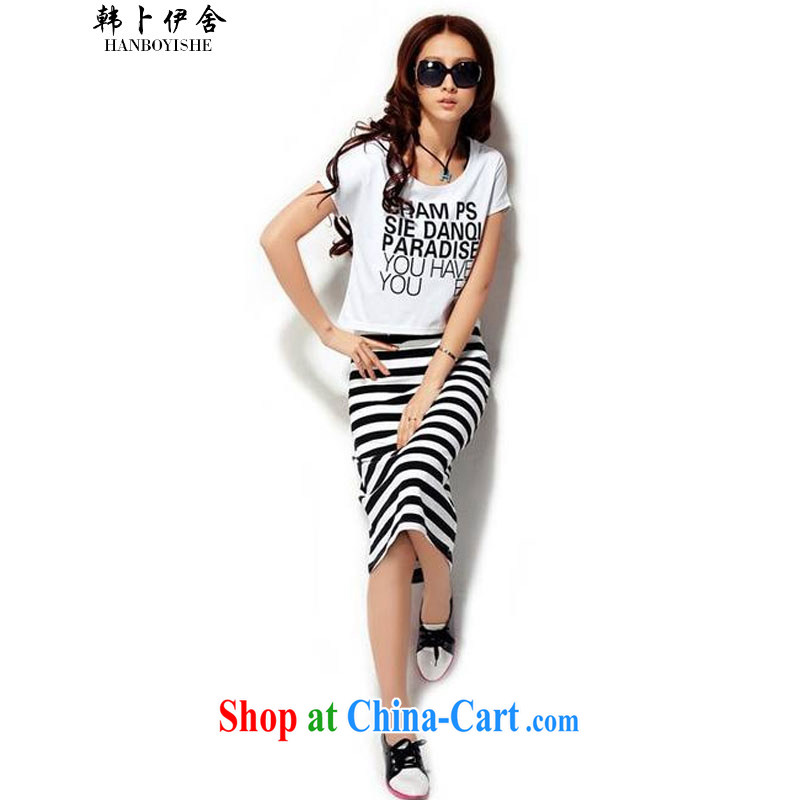 Korea, the rounded academic short-sleeved dresses summer New Women Fashion Round collar striped dress two-piece the 425800642 white L