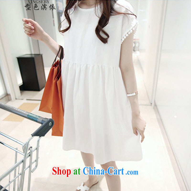 Type color bin in accordance with the summer leisure larger female liberal video thin solid doll dresses and 335 A 102,029 white M