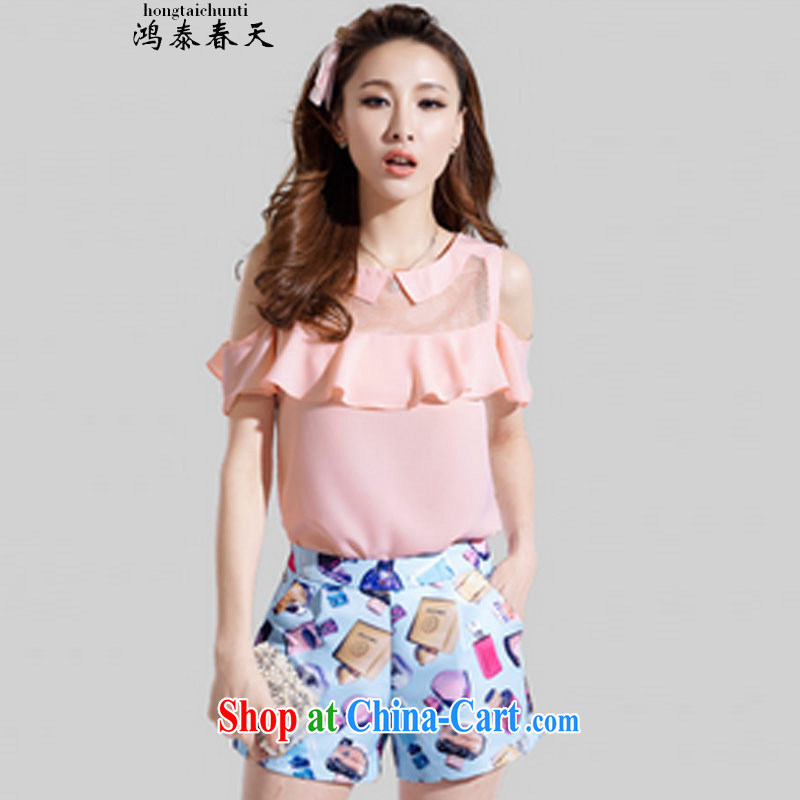 Hung Tai spring Delta two-piece larger blouses covered shoulders snow woven short-sleeved stamp stylish package for 327 B 980,339 pink XL