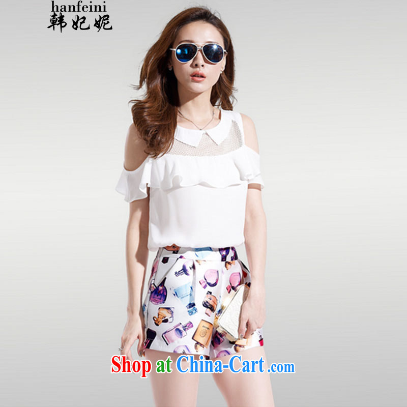 Princess won her two-piece larger blouses covered shoulders snow woven short-sleeved stamp stylish package for 327 B 980,339 white M