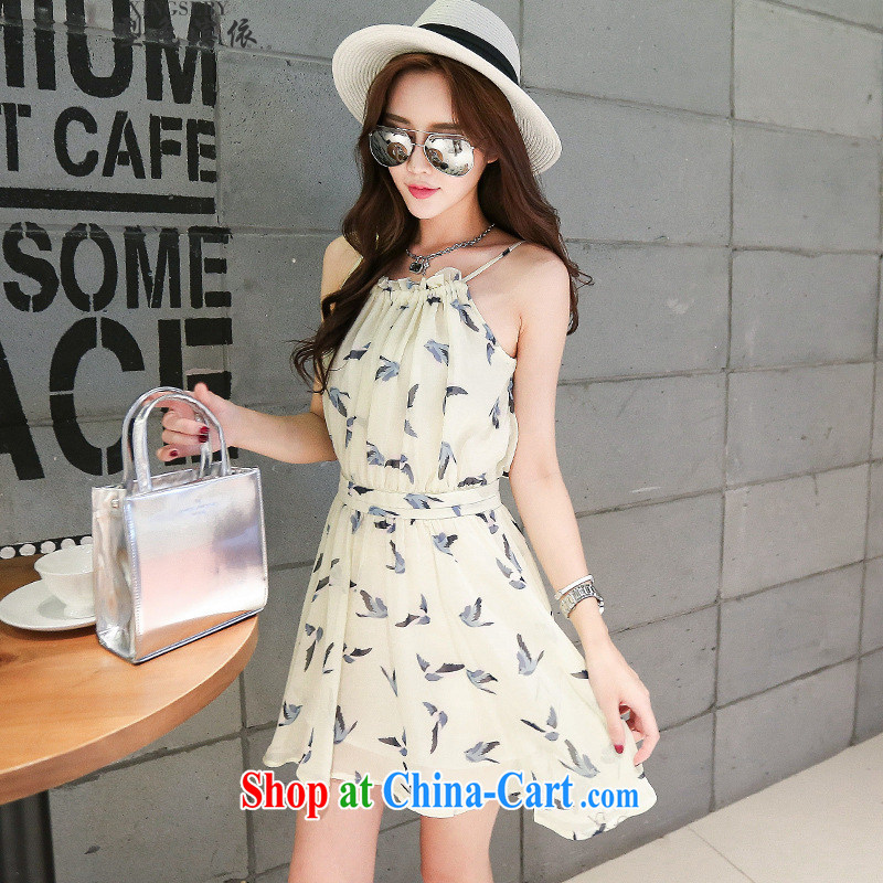 Type color bin in accordance with the Korean version retro back exposed stamp duty vest skirt high waist beauty strap with floral dresses and suit 42551013 L