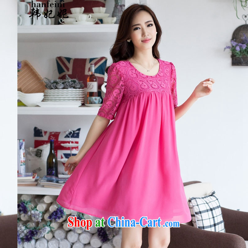 Korea's Princess Anne summer Korean version thick MM graphics thin large code female liberal 100 snow ground woven spell series skirts and 419 D 901,532 the big red code XXXL