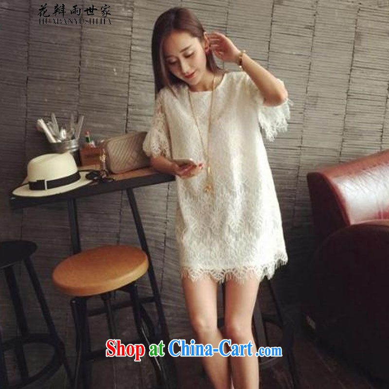 Petals rain saga should be summer new sweet eyelashes lace Korean version loose short-sleeve dress up in the 335 A 102,338 white XL