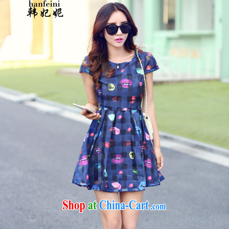 Korean Princess Anne summer new Korean European root yarn small fresh lady stamp short-sleeve girls dresses and 335 A 115,838 Tibetan cyan XL