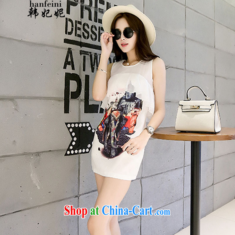 Korean Princess Anne Korean flouncing stamp dresses summer female 100 ground graphics thin vest skirt and white 425510730 M