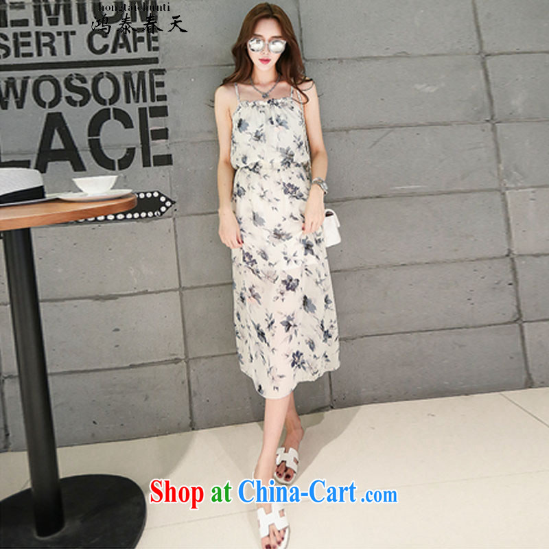 Leong Che-hung Tai spring Delta Summer Snow-woven strap with flouncing stamp Bohemia, long skirt skirt beach the 425510232 5 L