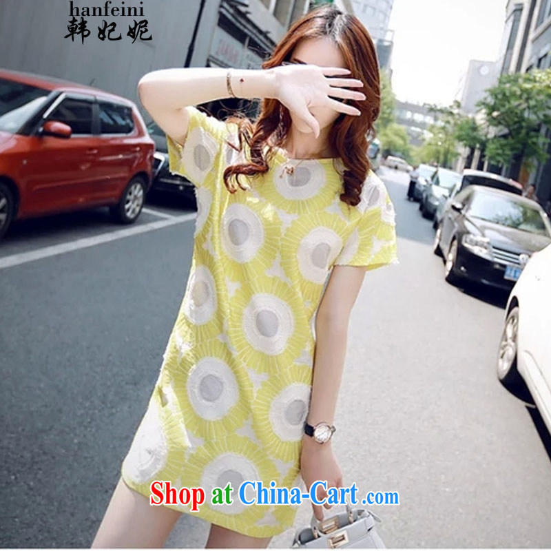 Korean Princess Anne new dresses, long, further than short-sleeve short skirts beauty graphics thin Korean edition 335 A 101,723 yellow S