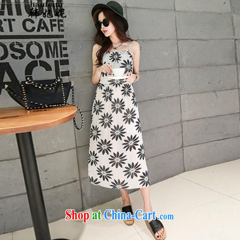 Korean Princess Anne Summer Snow-woven strap with flouncing stamp bohemian long skirt skirt Beach The 425510232 2 L