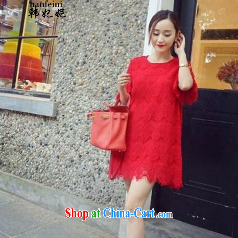 Korean Princess Anne summer new sweet eyelashes lace Korean loose short-sleeve dress up in the 335 A 102,338 red L