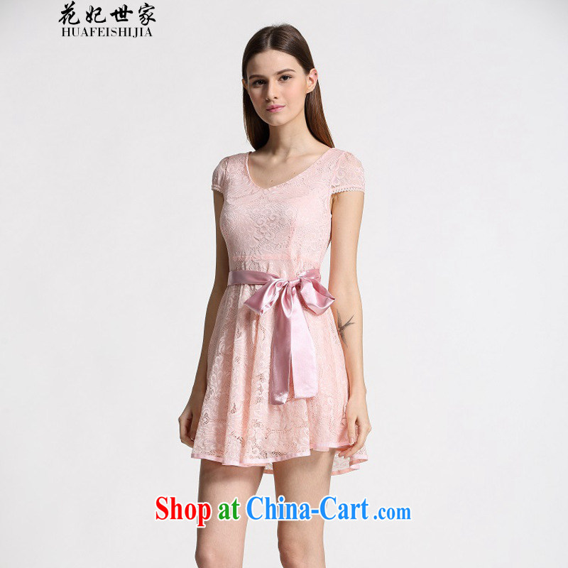 Take Princess Norodom Sihanouk Family Summer new Korean Beauty lady dresses, long lace snow woven the 339332930 pink L