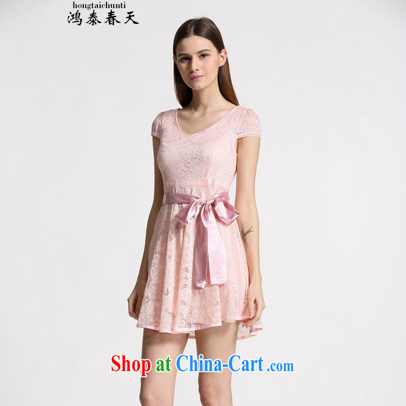 Leong Che-hung Tai spring Delta summer new Korean Beauty lady dresses, long lace snow woven the 339332930 pink M