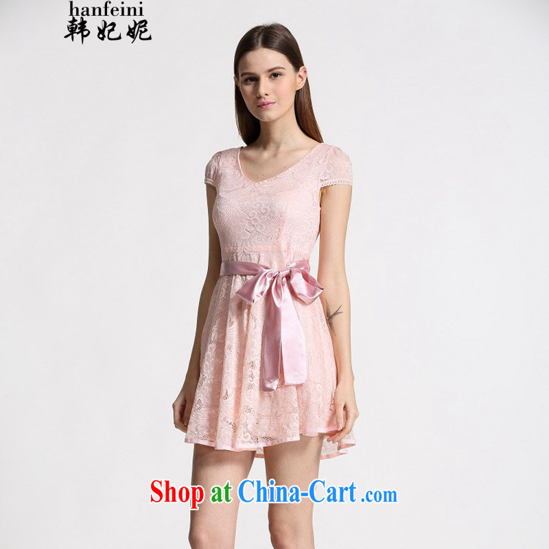 Korean Princess Anne summer new Korean Beauty lady dresses, long lace snow woven the 339332930 pink L