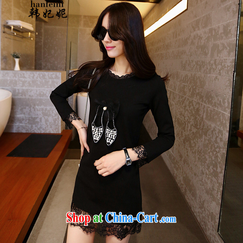 Korean Princess Anne style black simple and direct and ribs-cultivating dresses the 425203544 black XL