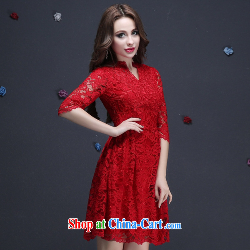 The Vanessa summer 2015 new Magenta short dress bridal dresses stylish package shoulder wedding dress bridesmaid clothing Openwork lace small V short-sleeved red XXL