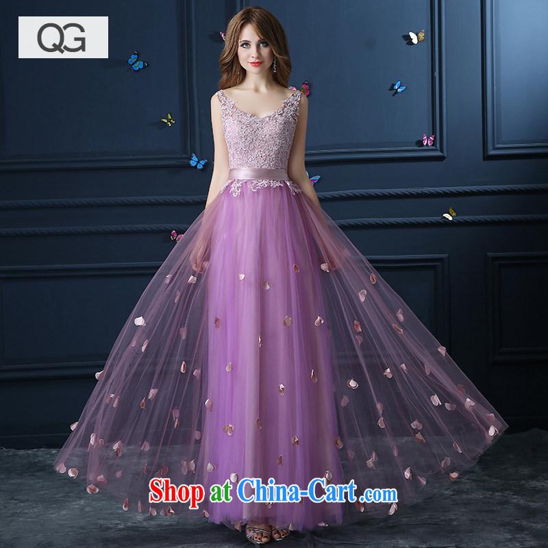 wedding dresses 2015 summer shoulders graphics slender dresses, bows show V collar gown light purple XXL