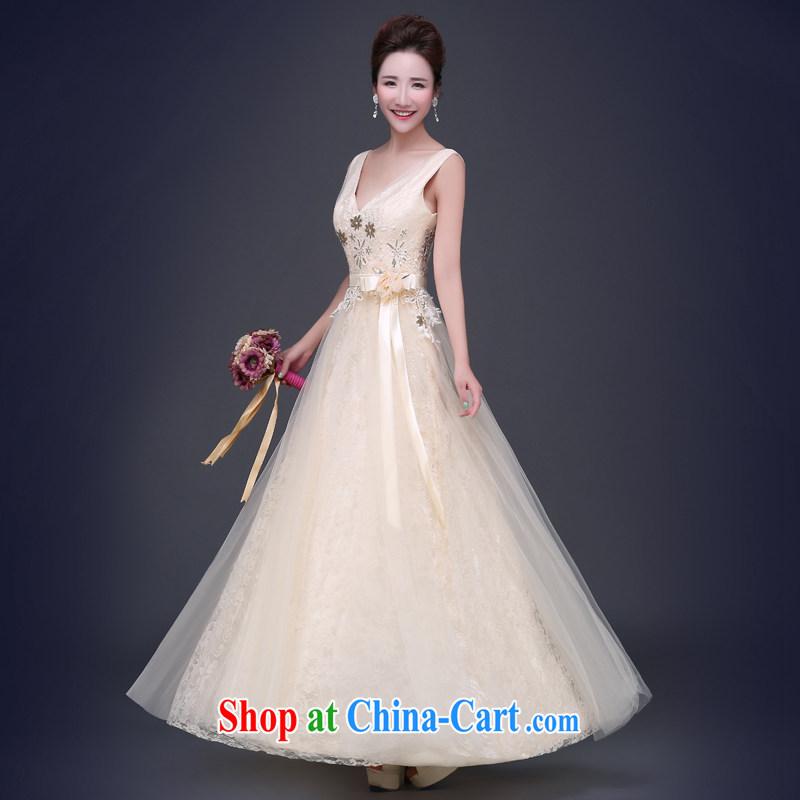Jie MIA dress 2015 new summer champagne color dual-shoulder short small dress bridesmaid serving long banquet moderator female long XXL