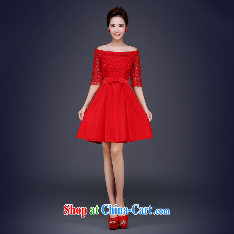 Jie MIA 2015 new lace marriages served toast wedding dresses a bare shoulders chest red short dress summer red XXL