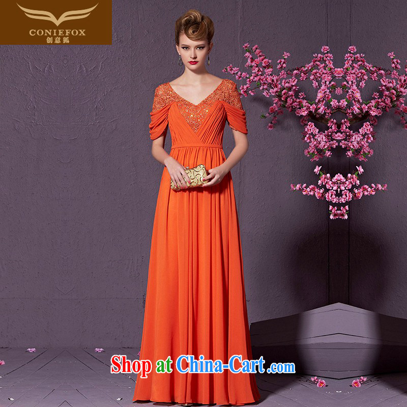 Creative Fox cultivating long banquet dress chaired annual concert dress uniform V collar graphics thin bridesmaid dress dress evening dress toast serving 30,909 orange XXL