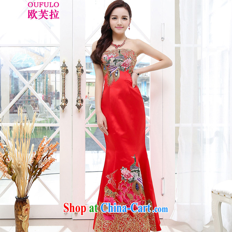 Europe could pull Oufulo 2015 new bride wedding dress toast clothing stylish long crowsfoot beauty wedding dresses elegant chair night show red S