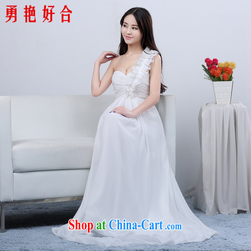 Yong-yan and bridesmaid wedding dress show toast serving the shoulder Evening Dress long bridal with 2015 new white long. size color will not be returned.