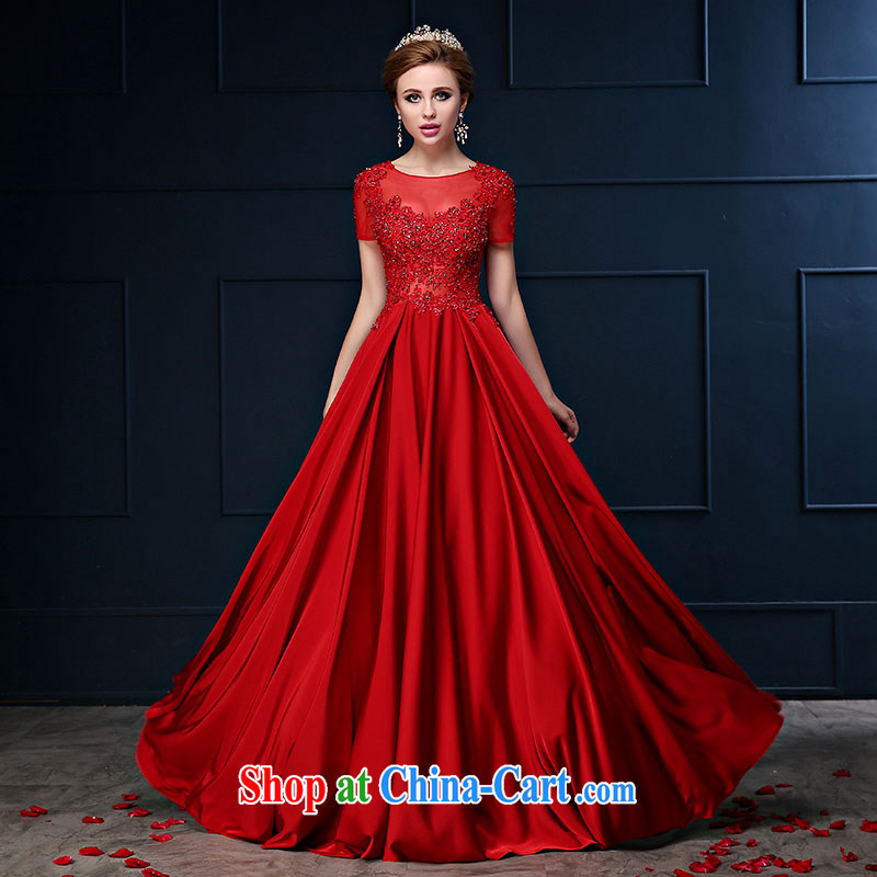 Bridal toast service 2015 spring and summer new bag shoulder red long large code graphics thin wedding banquet dress dress dark red S