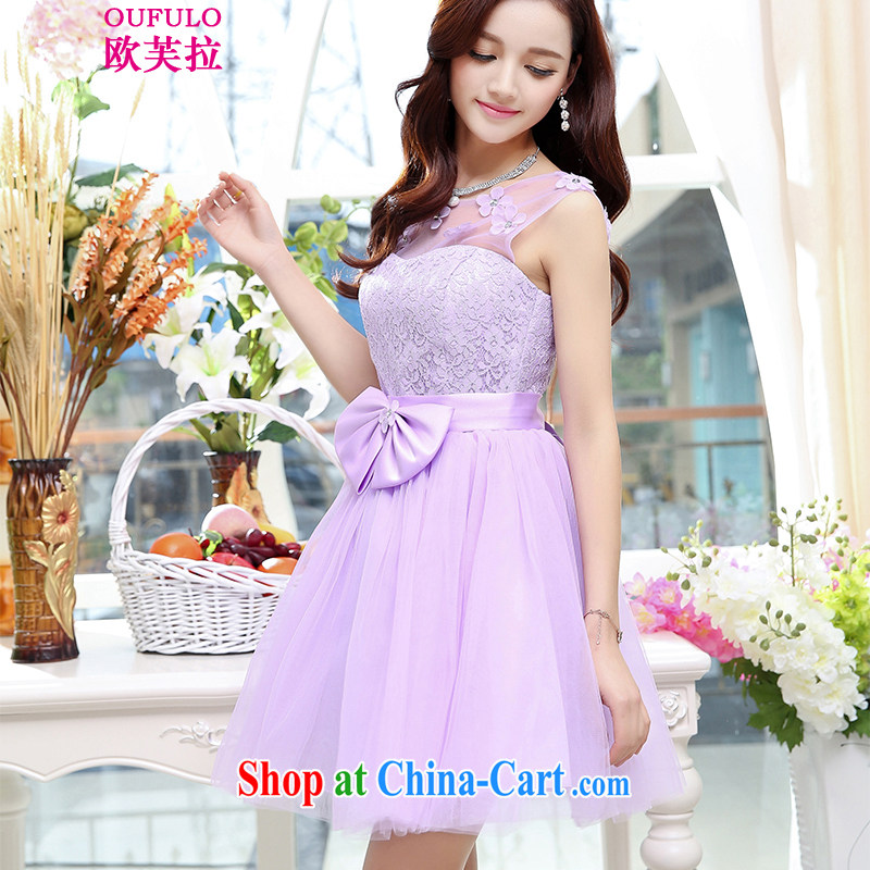 Europe could pull Oufulo summer 2015 new stylish and elegant bridal toast serving short Korean bridesmaid sister serving their service beauty dress shaggy purple skirt�XL