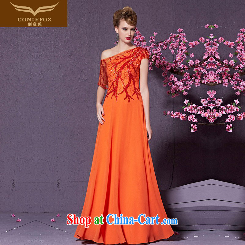 Creative Fox 2015 new banquet dress hostess dress long cultivating bridesmaid dress a stylish shoulder evening dress toast serving 30,910 orange XXL