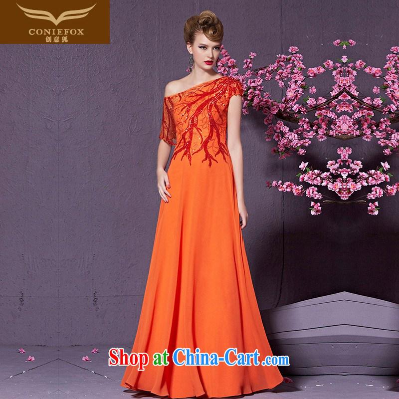 Creative Fox 2015 new banquet dress hostess dress long cultivating bridesmaid dress a stylish shoulder evening dress toast serving 30,910 orange XXL