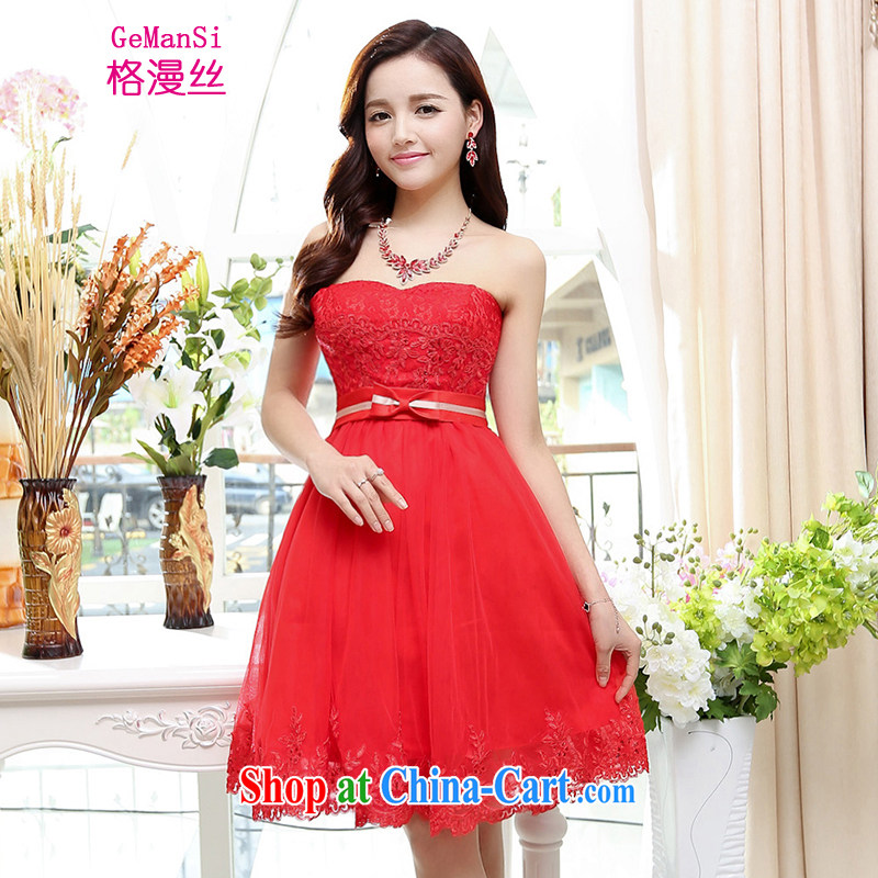 The diffuse population GEMANSI 2015 summer new wedding dress short bridal toast clothing spring and summer bare chest elegant banquet bridesmaid's dress red XL
