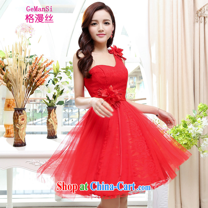 The diffuse population GEMANSI 2015 new bridesmaid bride toast wedding dress female Red short wedding dresses spring and summer, red XL