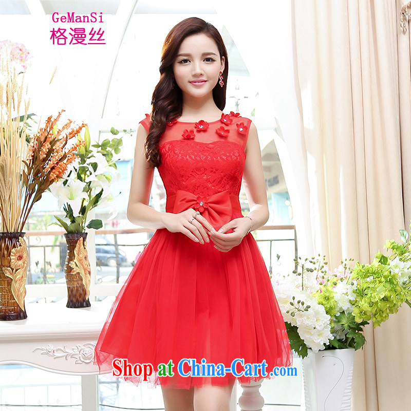 The diffuse population GEMANSI 2015 spring and summer new wedding dress short bridal toast serving sister mission bridesmaid clothing lace banquet dress red XL