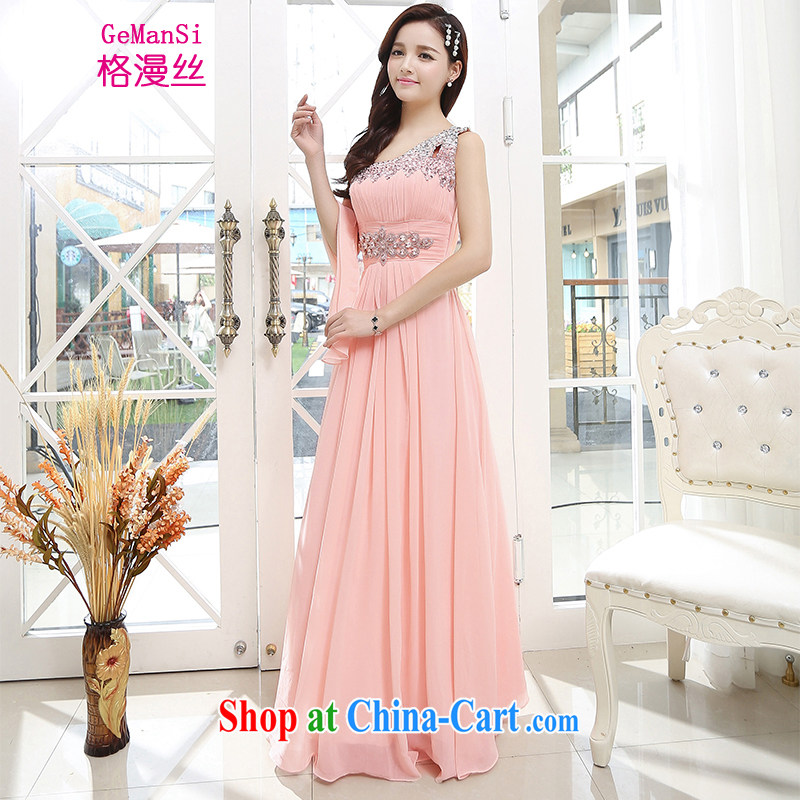 The diffuse population GEMANSI 2015 spring and summer, new bride toast wedding dress small dress single shoulder the shoulder bridesmaid serving long evening dress pink XL