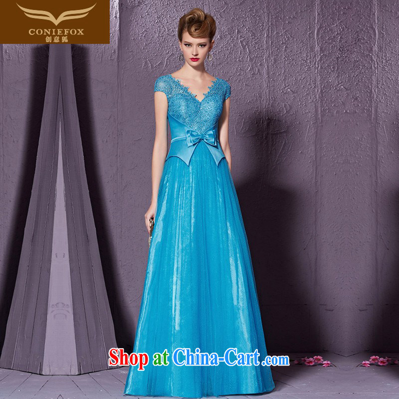 Creative Fox 2015 new blue V for banquet dress bow tie back exposed dress Evening Dress toast service annual meeting presided over 30,911 dresses blue�XXL