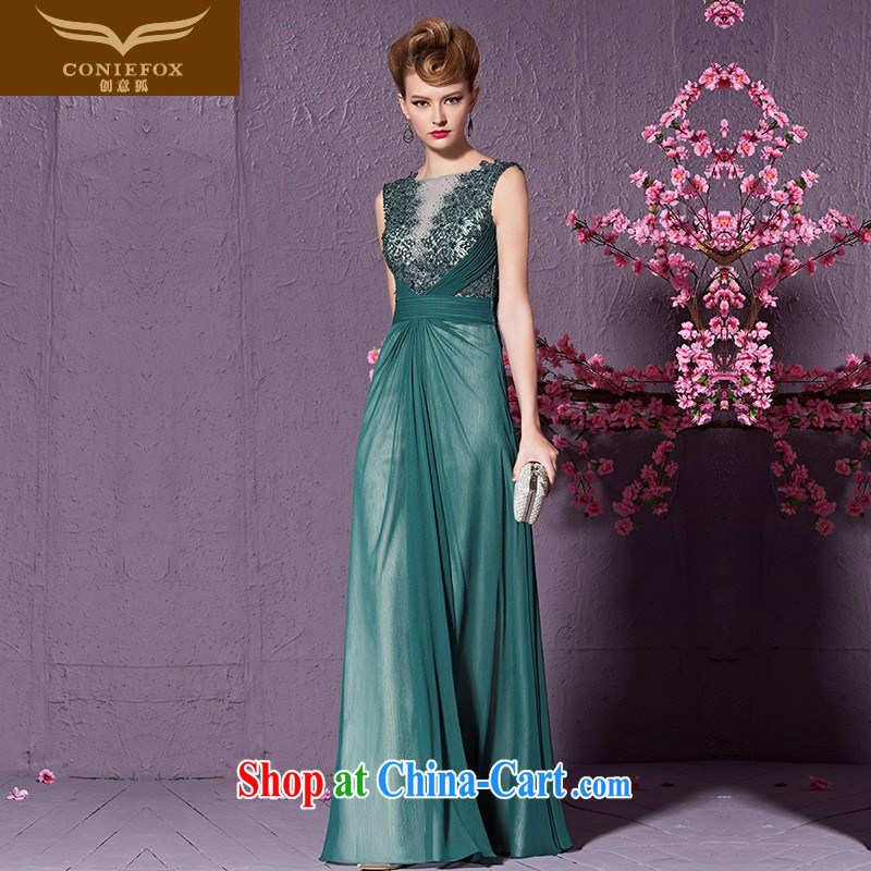 Creative Fox Europe dress skirt and stylish wood drill back exposed banquet dress beauty long evening dress toast serving the annual concert dresses serving 30,916 green XXL