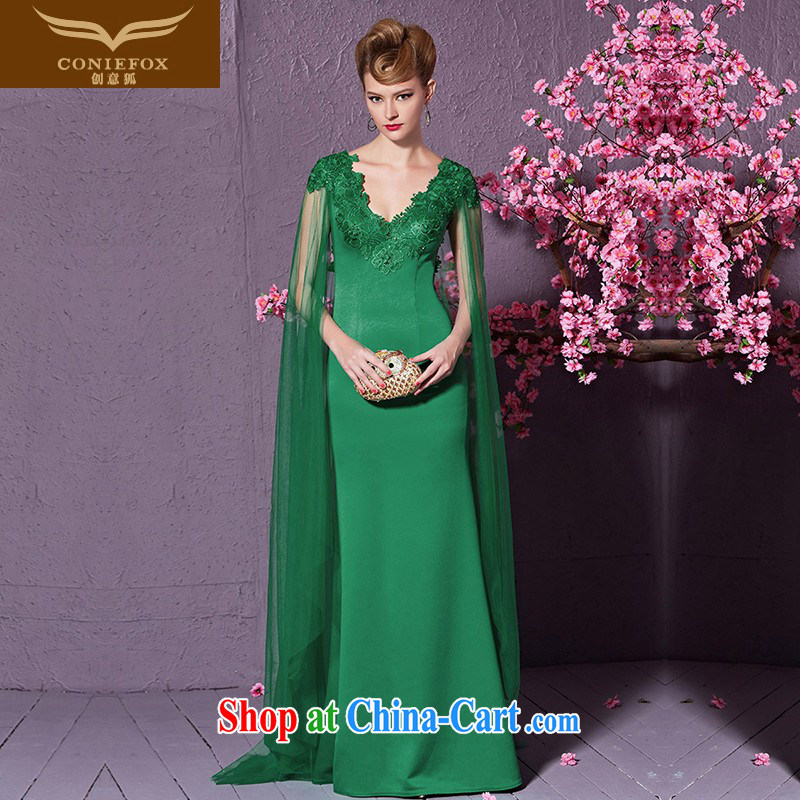 Creative Fox fashion shawl cuff banquet dress V cultivating for long serving performances conducted annual dress bride wedding toast serving 30,919 green XXL