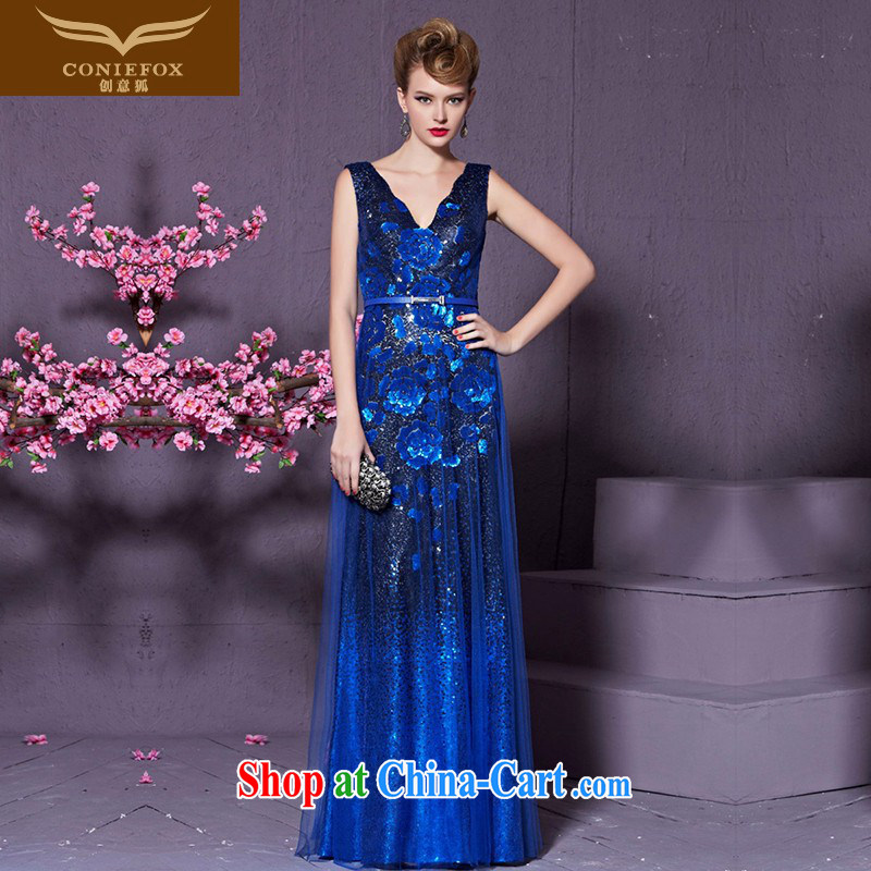 Creative Fox Blue double-shoulder banquet dress V collar long marriage toast clothing stylish cultivating the dress uniforms Evening Dress long skirt 30,920 blue XXL