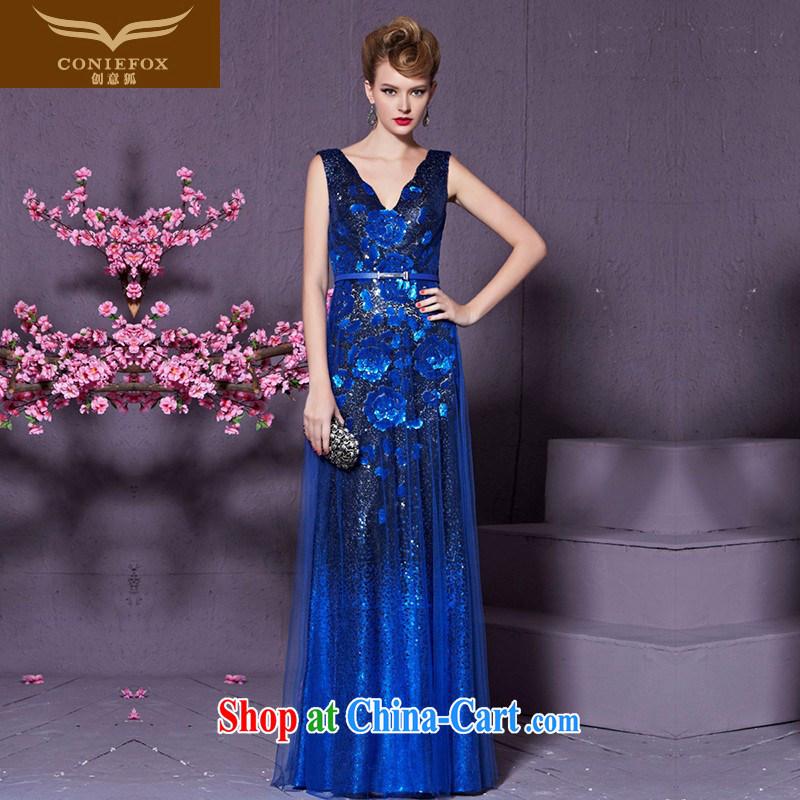 Creative Fox Blue double-shoulder banquet dress V collar long marriage toast clothing stylish cultivating the dress uniforms Evening Dress long skirt 30,920 blue XXL