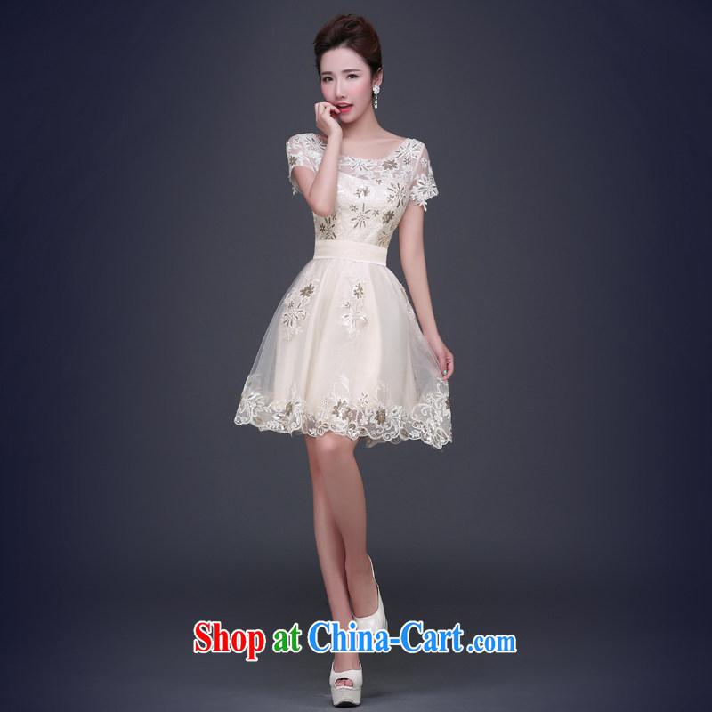 Jie MIA dress long 2015 new summer champagne color field shoulder evening dress long skirt short bridesmaid service banquet betrothal female short XXL