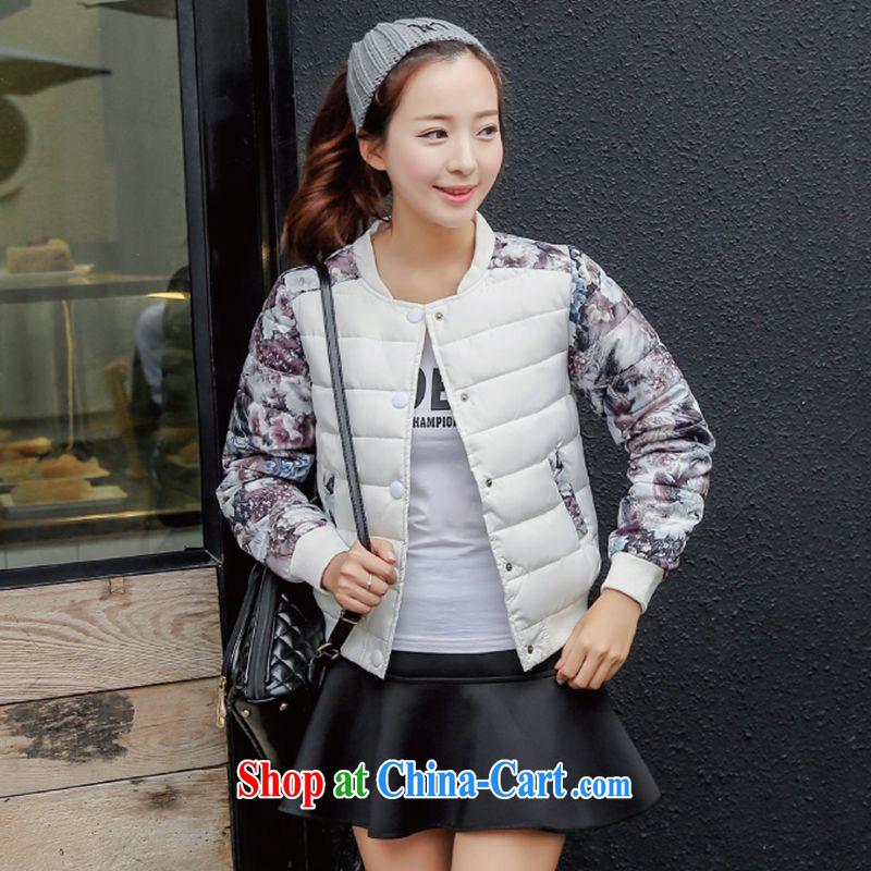 Wave season 2015 new stamp duty cotton suit Female jacket cultivating short baseball uniform jacket feather cotton white XXL
