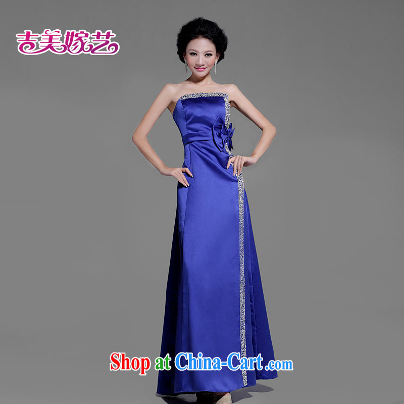 Korean luxury bridal wedding dress * blue towel chest butterfly knot dress * LS 207 bridal gown blue XL