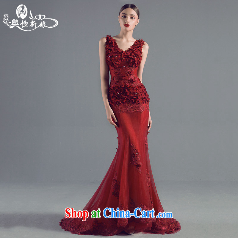 Code hang bridal wedding dresses 2015 new wine red evening dress beauty Deep V flowers at Merlion dress fluoroscopy marriage, banquet, the dress red XL