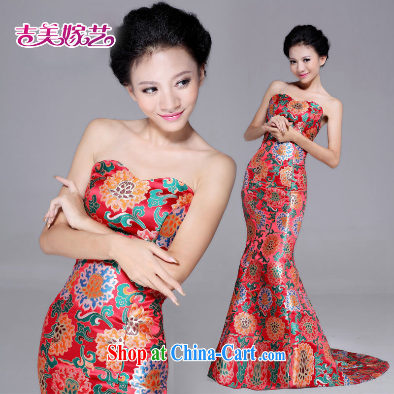 wedding dresses, marry us performing arts 2015 new erase chest robes trailing crowsfoot QP 6017 bridal cheongsam dress red XL